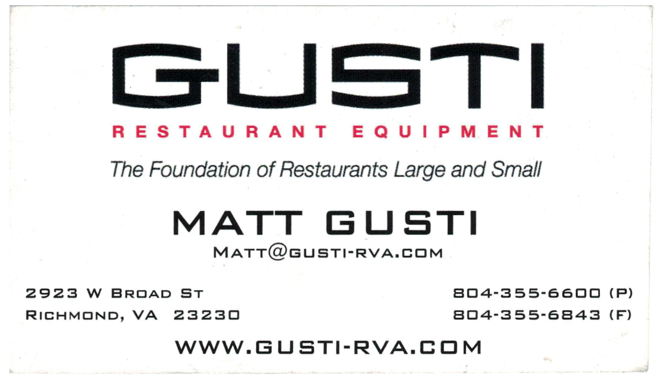 Gusti Restaurant Equipment Current Business Card