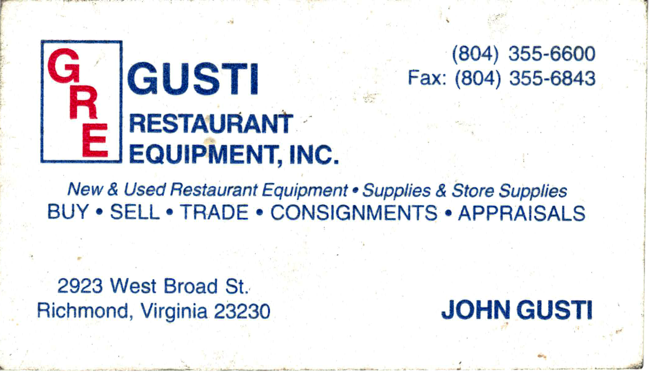 Gusti Restaurant Equipment Vintage Business Card 1