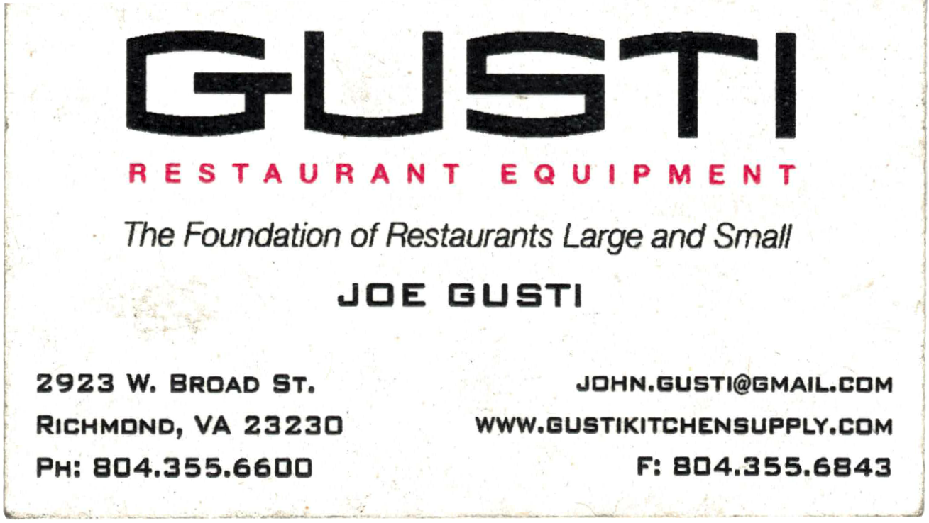 Gusti Restaurant Equipment Vintage Business Card 2